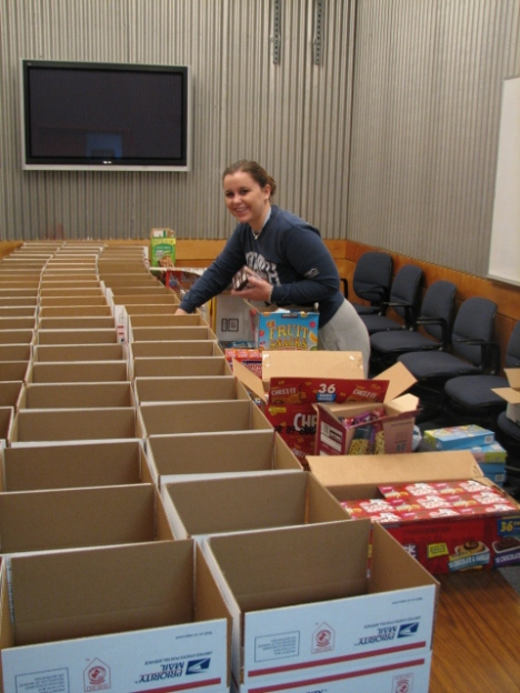 Care packages being prepared for Citadel Cadets prior to Christmas.