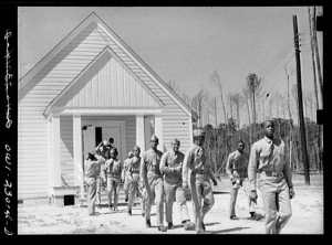 Black Marines exit the base chapel at Montford Point. Photo courtesy of the UNCW website.