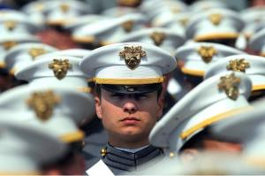 A cadet at the graduation ceremony for U.S. Military Academy at West Point, N.Y., listens to Defense Secretary Robert M. Gates' remarks, May 23, 2009. Of the 970 cadets, 144 are women. Photo courtesy of Army.mil.