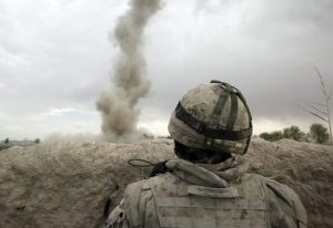 An IED blast. Traumatic brain injuries are most often caused by powerful blasts from improvised explosive devices. A roadside bomb explodes and the concussive effect violently shakes the brain inside the skull.