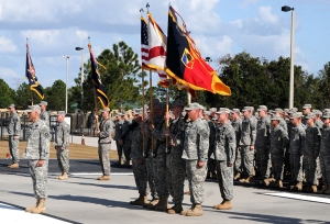Soldiers from the Florida National Guard's 53rd Infantry Brigade Combat Team conduct a change of command ceremony in Pinellas Park, Fla., Dec. 1, 2012. Photo by Debra Cox