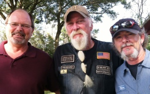 Veterans Randy Lewer (R), Jack Sellers (C), and Steve Leinwand (L) took on the mission to provide wreaths for the veterans buried at Florida National Cemetery in Bushnell.