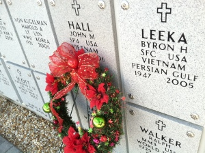 An early holiday wreath at one of three columbariums at Florida National Cemetery.