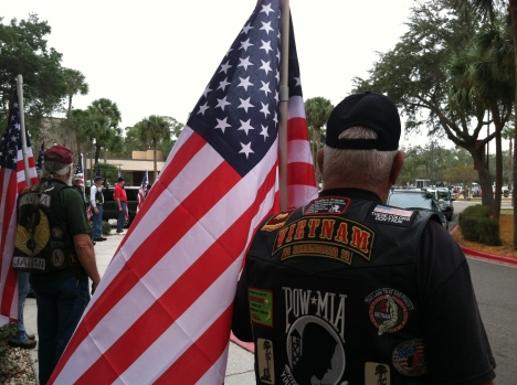 Patriot Guard Riders showed up to support a fellow veteran who lost his son during the Benghazi raid on the U.S. diplomatic staff in Libya.