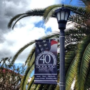 Saint Leo University's tribute to 40 years of serving the military. Photo credit St. Leo