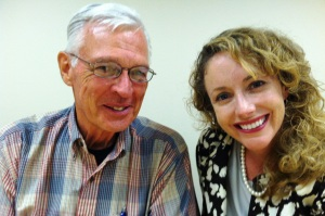 Pinellas SCORE volunteer Jack Grise (L) and Associate Professor Amy Sauers (R).