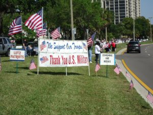 The ever faithful Lutz Patriots and Troop Support Alliance gather to honor the fallen warrior along Bayshore Boulevard, Tampa.