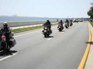 The escort motorcade for Army Spc. Zachary Shannon.