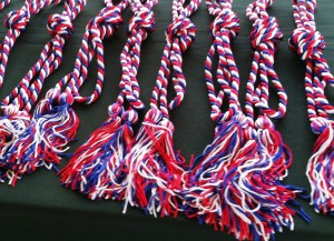 The red-white-and blue honor cords that graduating student veterans will wear on their gowns.