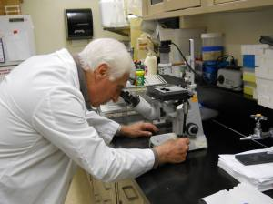 Dr. Robert Farese in his lab at James A. Haley VA Hospital.