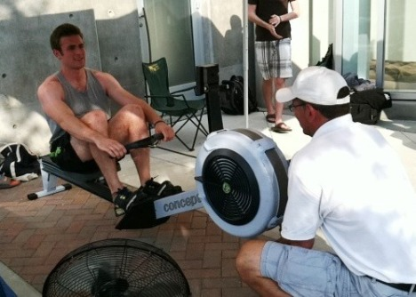 Matt Casey during hour 8 of a 21 hour rowing marathon with his sister.