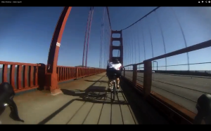Kiersten Downs crossing the Golden Gate Bridge on the first leg of her journey across America.
