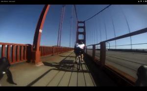 Kiersten Downs crossing the Golden Gate Bridge on the first leg of her journey across America.