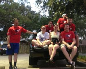 Members of the USF Student Veterans Association and Team Red, White and Blue at a recent event. From the left, Ray Mollison, Amanda Lynn Alexander, Amanda Pasquale-Spellicy, Chris Rhode, Kelly Knigge, Patrick Stephen Schweickart and Oliver Lima. Credti: SVA/RWB