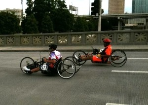 The hand-cycling race, 5K and 10K, included crossing the Cass Street Bridge then on to Bayshore Boulevard. Photo credit: Bobbie O'Brien