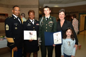 JROTC Awards night my son's junior year in high school. LTC Linda Colar was the teacher who taught me about the Army.