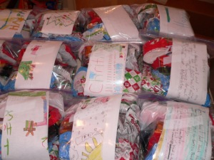 The three goody bags went into a zip lock bag with a note from the children and a card from us.
