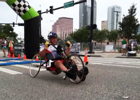 The finish line for the first event, hand-cycling, was an inflatable arch outside the Tampa Bay Times Forum. Photo credit: Bobbie O'Brien