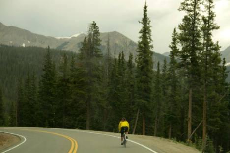 Kiersten Downs climbing the summits in Colorado. Credit: Biking USA.net