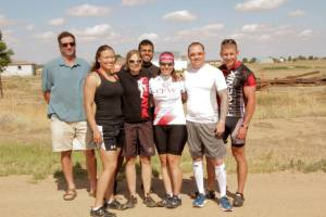 Downs (third from the right) is joined by fellow student veterans in Pueblo, CO for the day's ride of 62 miles.