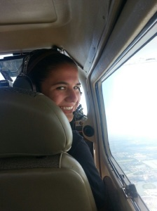 "Her love of flying is in full display as Jacqueline Parker enjoys one of her ""orientation"" flights with the Civil Air Patrol."