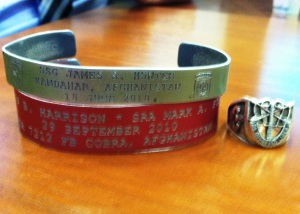 Brian Anderson usually wears his Green Beret ring and these KIA (Killed in Action) bracelets that commemorate the loss of his friends on the battlefield.
