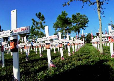 The display of markers for each Floridian killed in the Afghanistan and Iraq Wars set up for the 2013 Run for the Fallen this coming Sunday.