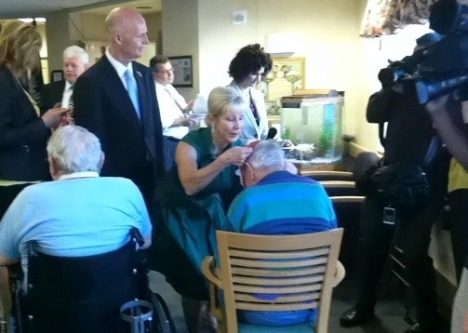 The governor's staff said they distributed 136 service medals Thursday at the Land O'Lakes veterans nursing home.