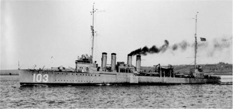 The destroyer, USS Schley (DD 103). Photo credit: navsource.org