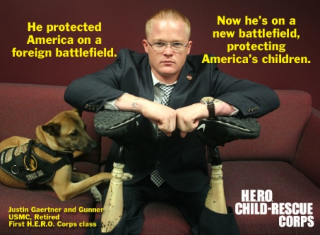 A photo of Justin Gaertner and his service dog Gunner during the HERO Corps training.