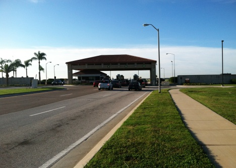 Traffic is a lot lighter outside MacDill's main gate since 1,500 workers were furloughed Tuesday.