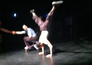 Dwayne Scheuneman and Rolando warming up prior to rehearsal.