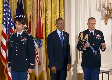 Former Army Capt. William Swenson and President Barack Obama stand as the citation is read prior to the presentation of the Medal of Honor on Tuesday.