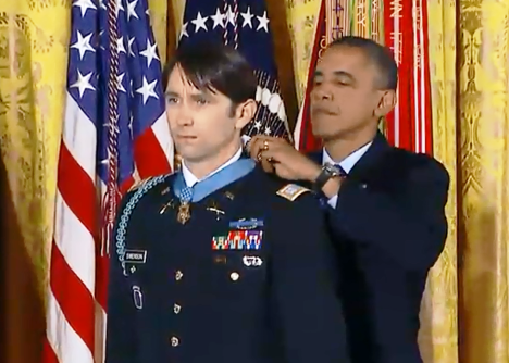 President Obama presents the Medal of Honor to former Army Capt. William Swenson. Photo from PBS News Hour web stream.