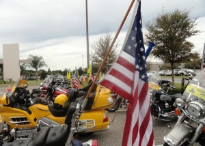 Dozens of Patriot Guard Riders escorted Congressman Young from the church service to Bay Pines National Cemetery.