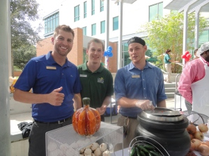 "First place winners of the USF Student Veterans' 4th Annual Chili Cook-Off, the team from Dining Services with their ""I'm chili and I know it"" entry."