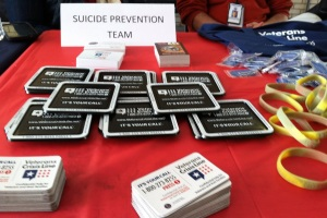 Some of the free paraphernalia used to promote the Veterans Crisis Line.