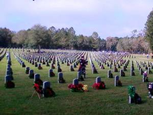 Wreaths placed at Florida National Cemetery at Bushnell in December 2012.