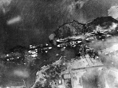 Battleship Row, as seen by Japanese pilot during the attack.