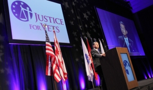 Retired General Eric Shinseki, Secretary of Veterans Affairs, discusses the VA's support for Veterans Treatment Courts during the inaugural Justice For Vets Veterans Treatment Court conference at the Marriott Wardman Park Hotel on Monday, December 2, 2013 in Washington, DC. (Paul Morigi/AP Images for The National Association of Drug Court Professionals)