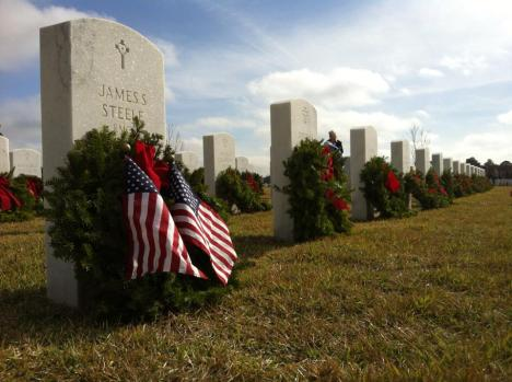 Wreaths Across America at the Jacksonville National Cemetery.
