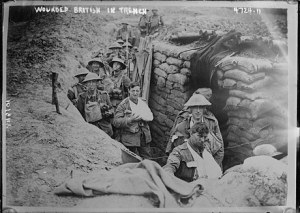 Wounded British soldiers in a trench during World War I. (Library of Congress)