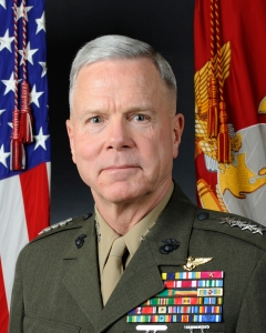 Official portrait, uncovered, of the 35th Commandant of the Marine Corps, Gen. James F. Amos. Gen. Amos is the first aviator in Marine Corps history to be selected for the post, and the first assistant commandant to be promoted to the position in more than 20 years. (U.S.Marine Corps photo by Sgt. Alvin Williams/RELEASED)