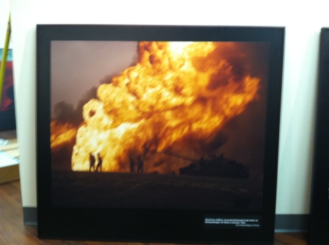 A photograph of one of the Iraq well fires during the Gulf War is another favorite of museum education director, Nevin Sitler, a veteran Air Force fireman.