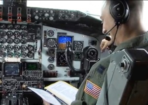 A glimpse inside the cockpit of the KC-135 Stratotanker flown by the MacDill Air Force Base 6th Air Mobility Wing.