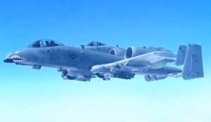 A-10 Warthog as seen from the cabin of the KC-135 Stratotanker.