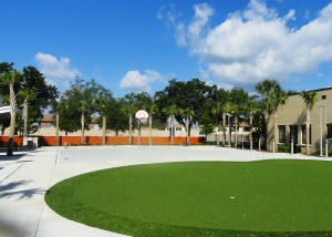 A putting green, basketball court and horseshoe pit are all part of the new, outdoor recreational therapeutic activity courtyard.