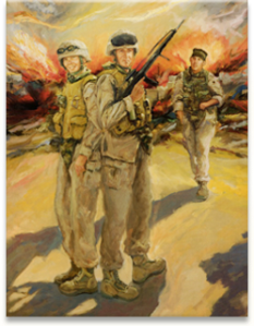 The artist's depiction of LCpl Timothy Bell, Jr, Sgt Justin Hoffman, and LCpl Nicholas Bloem from the Lima Company Memorial traveling exhibit.