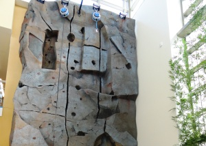 A two-story, therapy climbing wall is part of the common area in the Polytrauma Center second floor area known as Main Street.