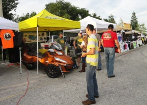 The Project Road Warrior tent, courtesy of Barney's Motorcycle and Marine, was one of the popular spots during bike night at Quaker Steak & Lube in Clearwater.